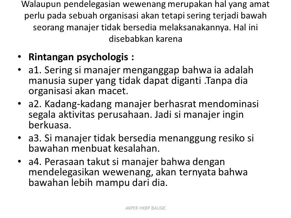 Rintangan psychologis :