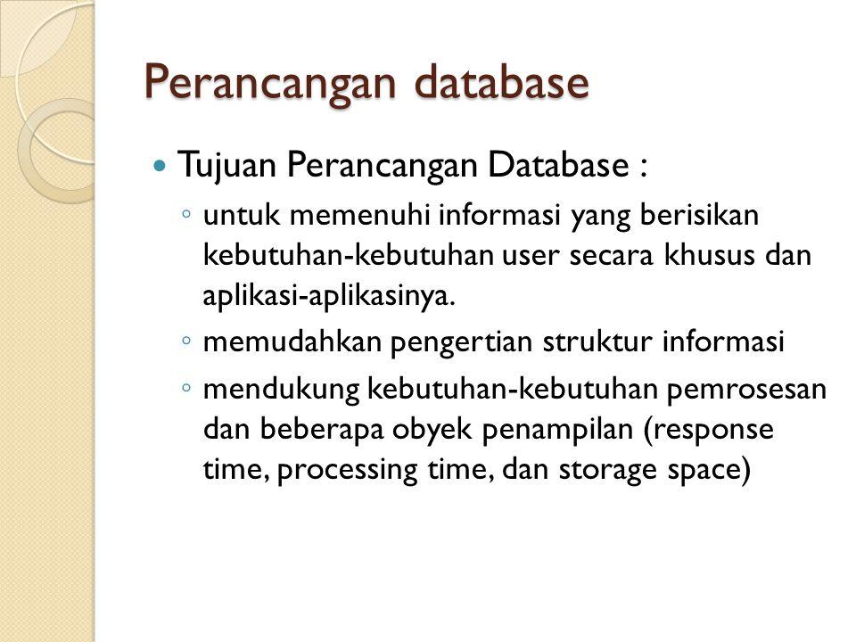 Perancangan database Tujuan Perancangan Database :
