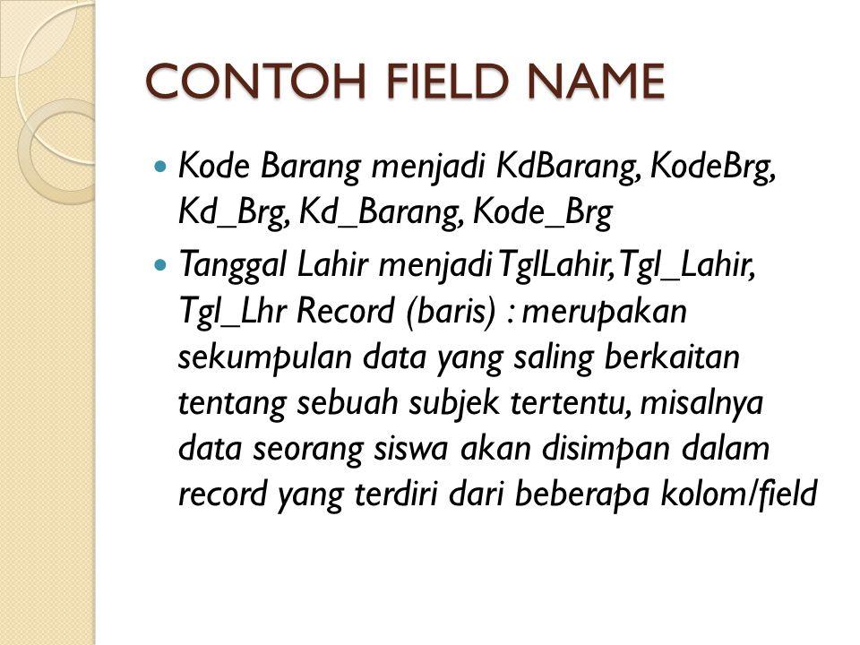 CONTOH FIELD NAME Kode Barang menjadi KdBarang, KodeBrg, Kd_Brg, Kd_Barang, Kode_Brg.