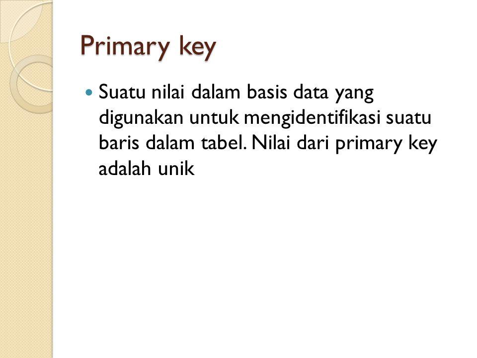 Primary key Suatu nilai dalam basis data yang digunakan untuk mengidentifikasi suatu baris dalam tabel.
