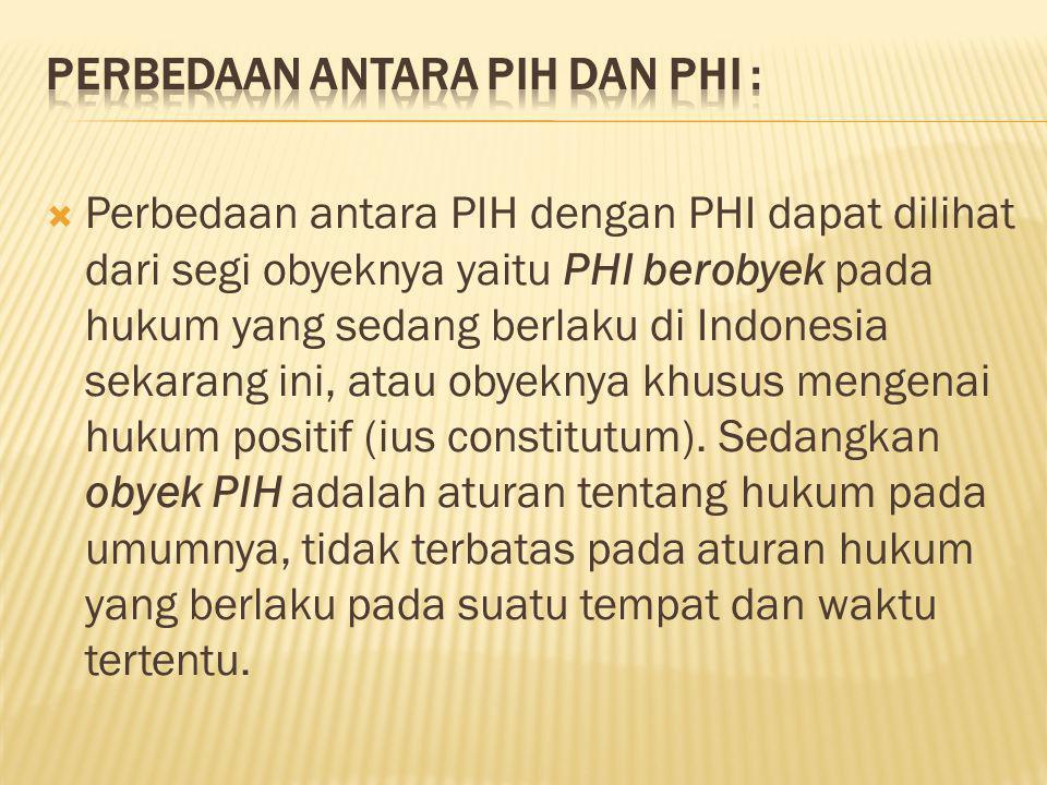 Perbedaan antara PIH dan PHI :