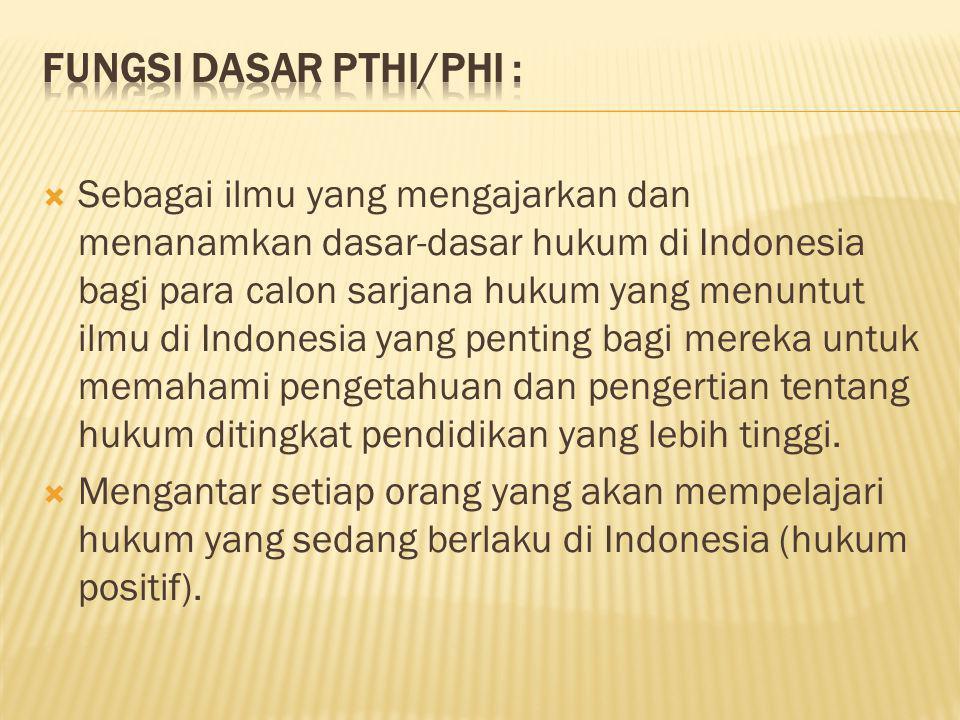 Fungsi dasar PTHI/PHI :