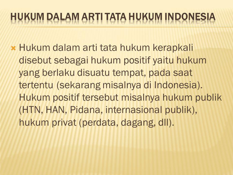 HUKUM DALAM ARTI TATA HUKUM INDONESIA