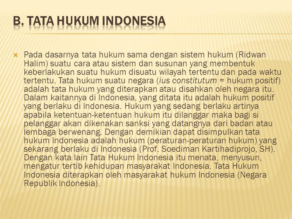 B. Tata Hukum Indonesia