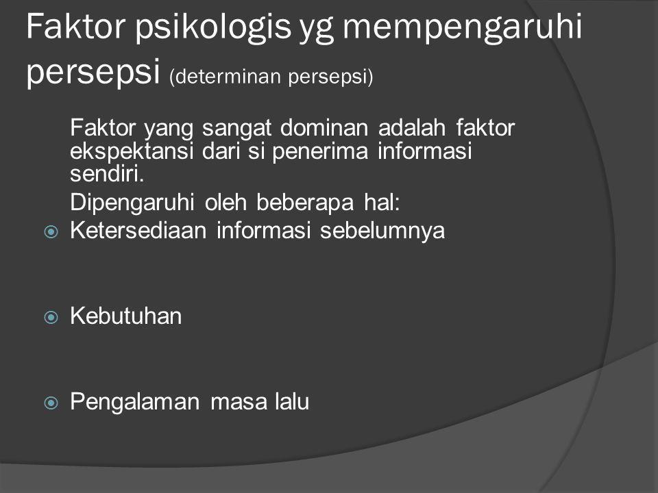 Faktor psikologis yg mempengaruhi persepsi (determinan persepsi)