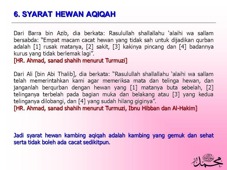 6. SYARAT HEWAN AQIQAH