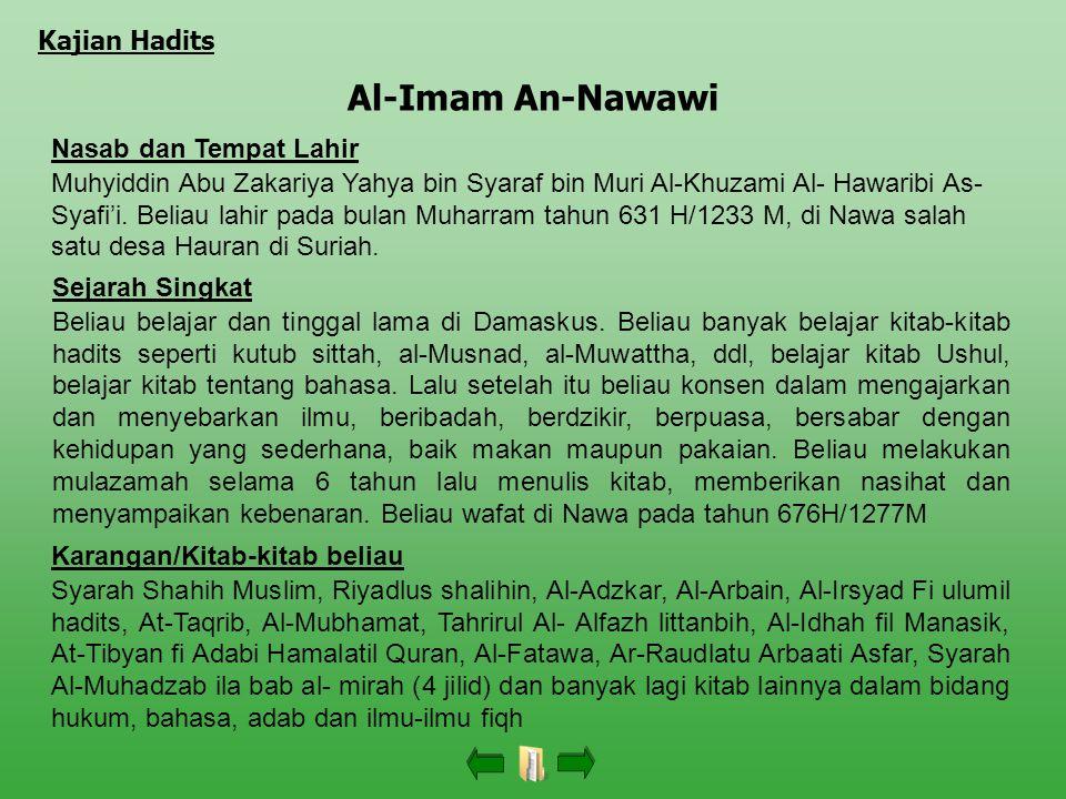 Al-Imam An-Nawawi Kajian Hadits Nasab dan Tempat Lahir