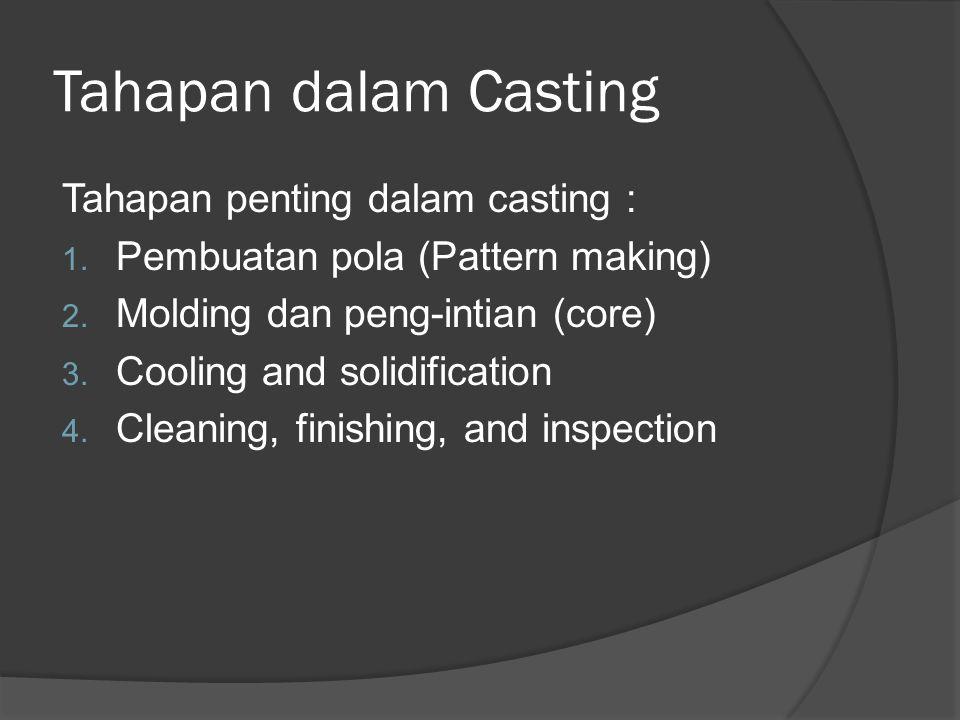 Tahapan dalam Casting Tahapan penting dalam casting :