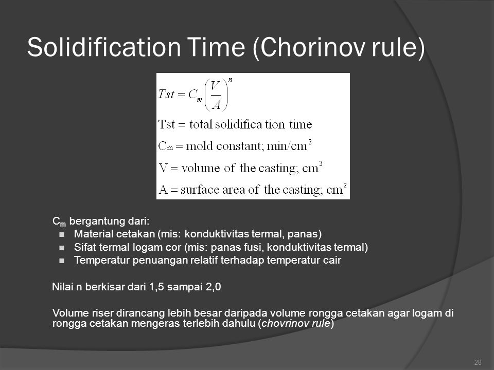 Solidification Time (Chorinov rule)