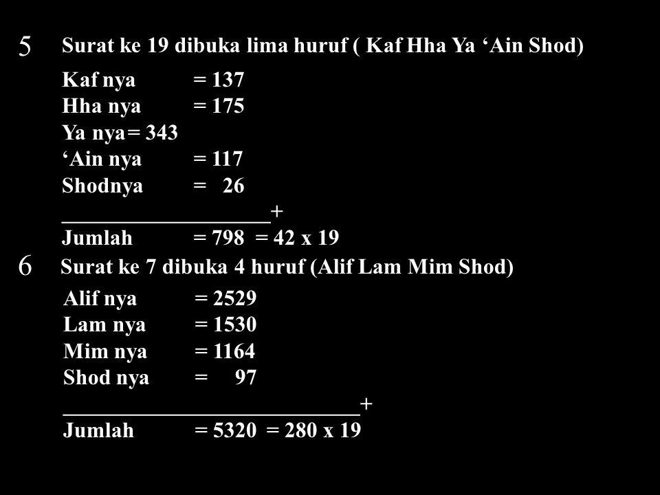 5 6 Surat ke 19 dibuka lima huruf ( Kaf Hha Ya 'Ain Shod)
