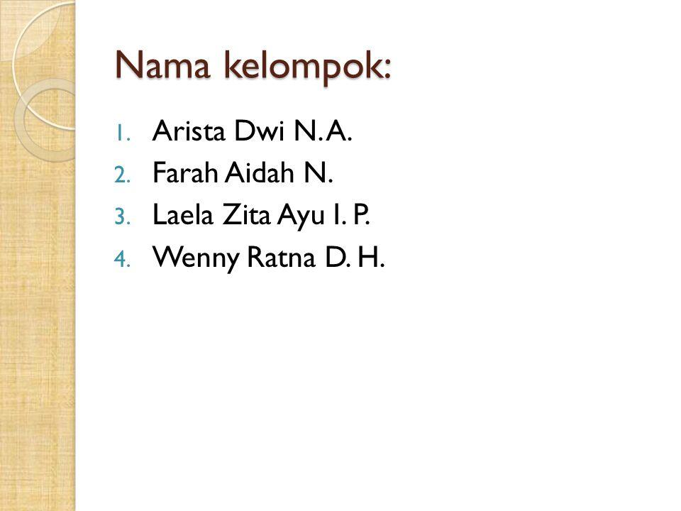 Nama kelompok: Arista Dwi N. A. Farah Aidah N. Laela Zita Ayu I. P.