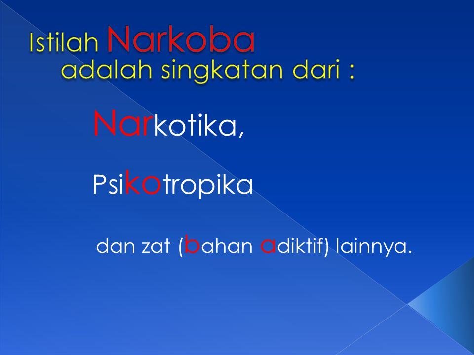 Istilah Narkoba adalah singkatan dari :