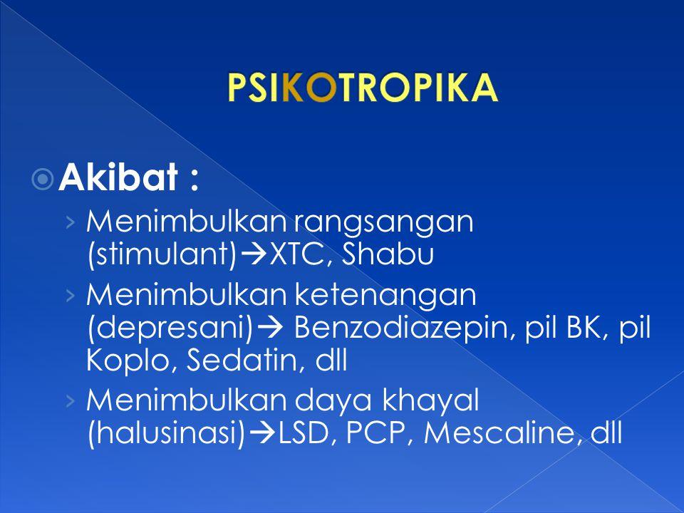 PSIKOTROPIKA Akibat : Menimbulkan rangsangan (stimulant)XTC, Shabu