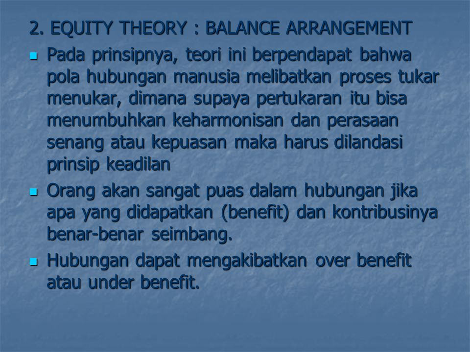 2. EQUITY THEORY : BALANCE ARRANGEMENT