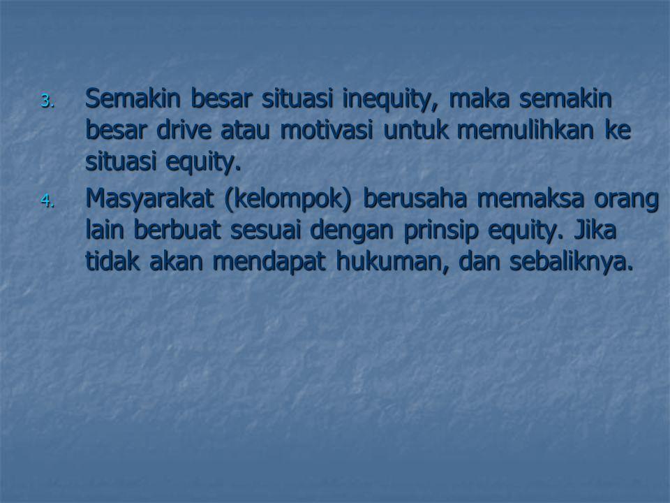 Semakin besar situasi inequity, maka semakin besar drive atau motivasi untuk memulihkan ke situasi equity.