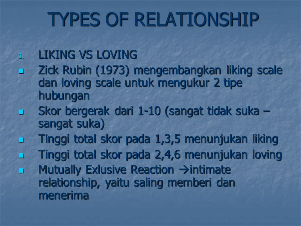 TYPES OF RELATIONSHIP LIKING VS LOVING