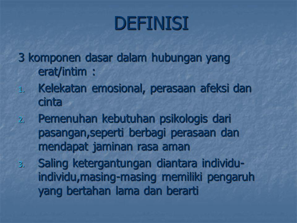 DEFINISI 3 komponen dasar dalam hubungan yang erat/intim :