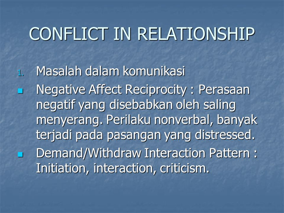 CONFLICT IN RELATIONSHIP