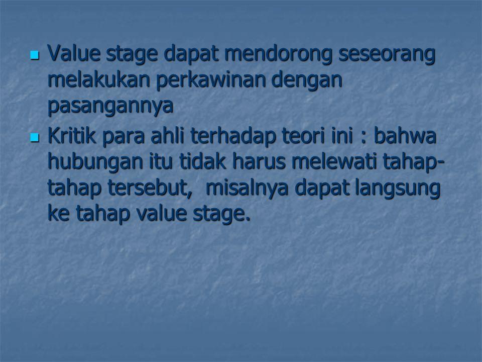 Value stage dapat mendorong seseorang melakukan perkawinan dengan pasangannya