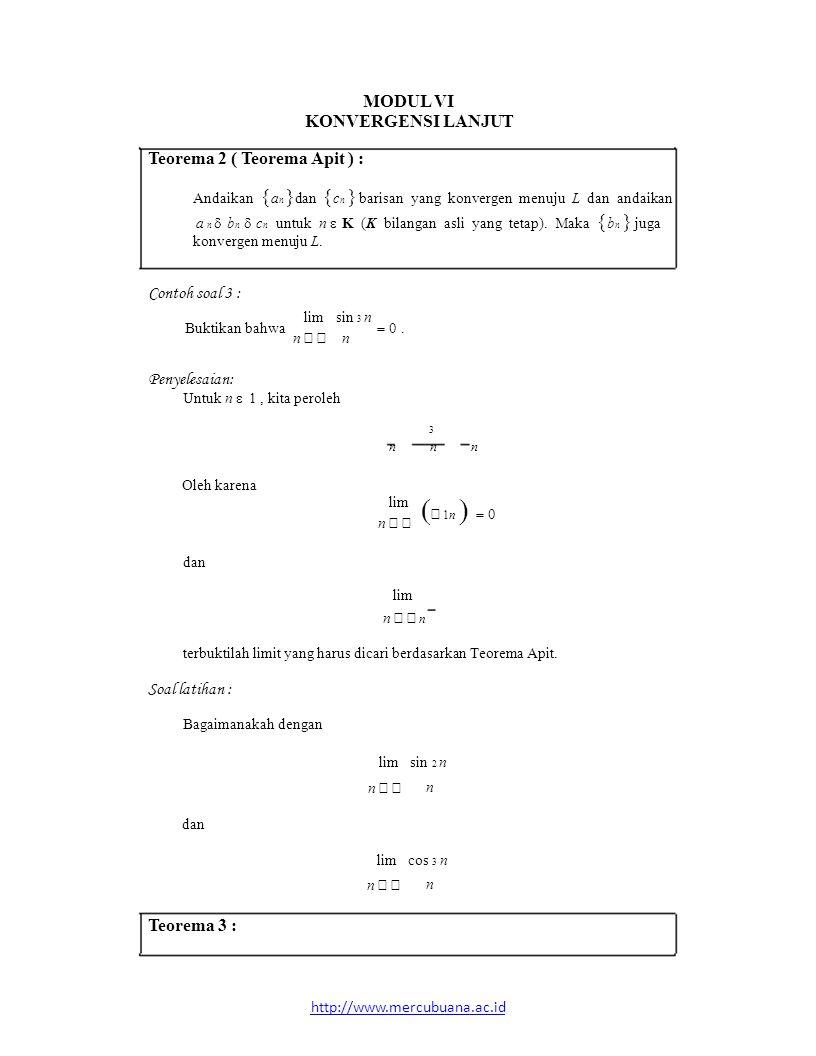 (− 1n ) = 0 MODUL VI lim sin 3 n lim dan KONVERGENSI LANJUT