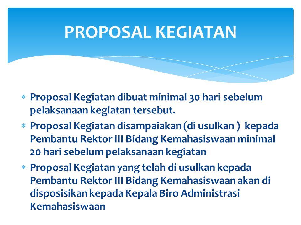 PROPOSAL KEGIATAN Proposal Kegiatan dibuat minimal 30 hari sebelum pelaksanaan kegiatan tersebut.