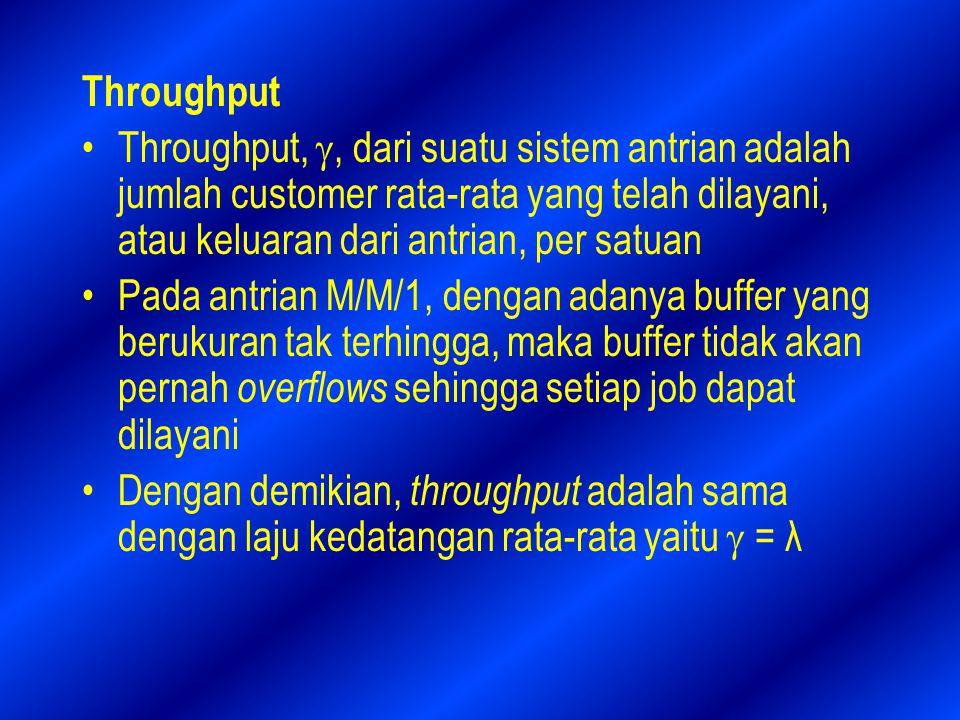 Throughput Throughput, , dari suatu sistem antrian adalah jumlah customer rata-rata yang telah dilayani, atau keluaran dari antrian, per satuan.