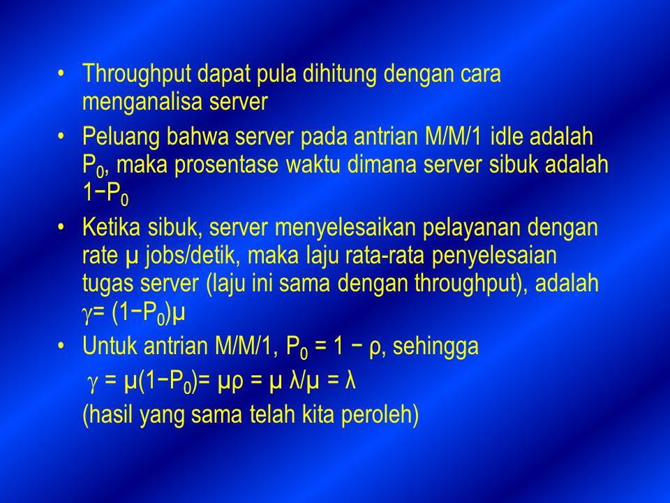 Throughput dapat pula dihitung dengan cara menganalisa server