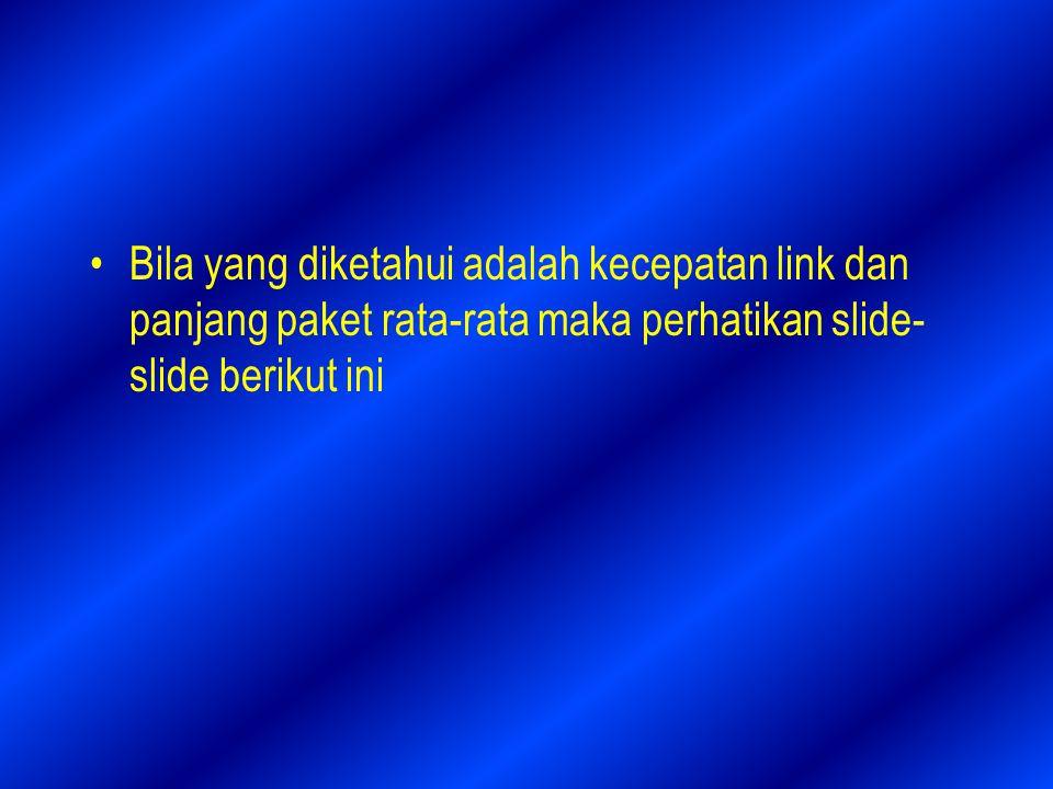 Bila yang diketahui adalah kecepatan link dan panjang paket rata-rata maka perhatikan slide-slide berikut ini