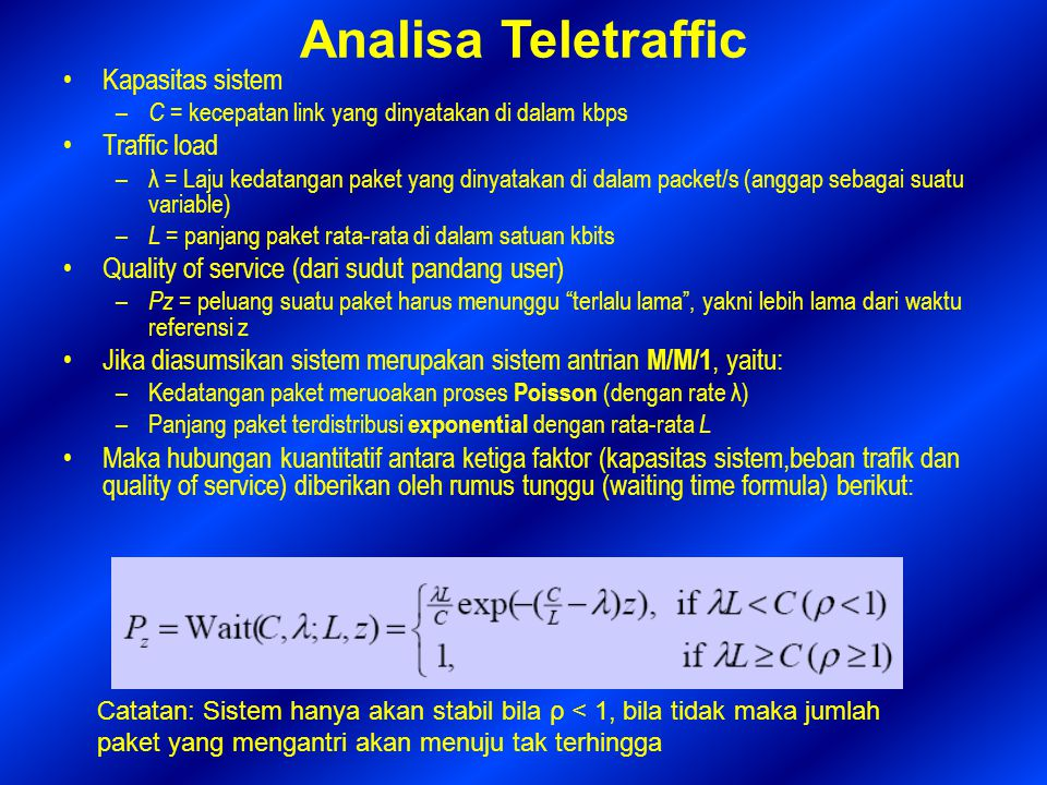Analisa Teletraffic Kapasitas sistem Traffic load