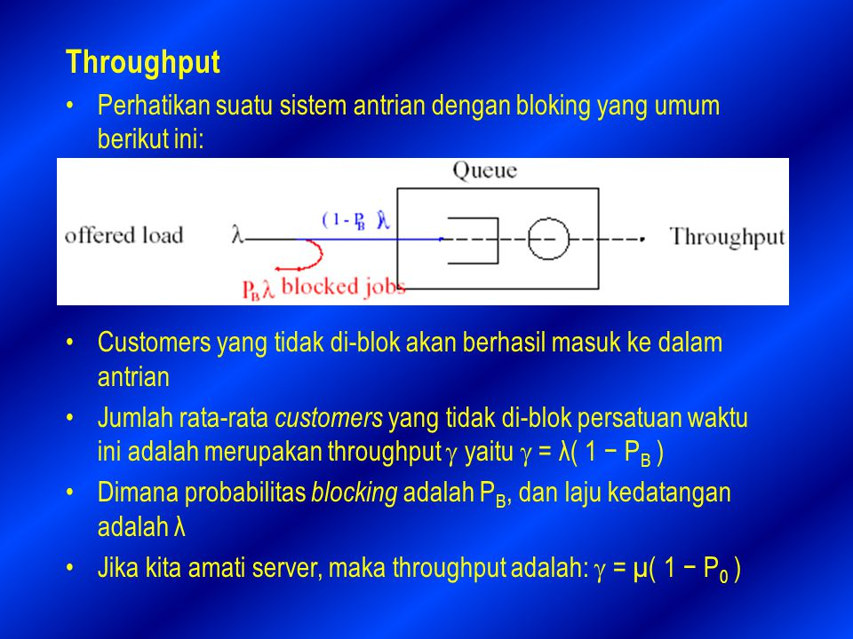 Throughput Perhatikan suatu sistem antrian dengan bloking yang umum berikut ini: Customers yang tidak di-blok akan berhasil masuk ke dalam antrian.