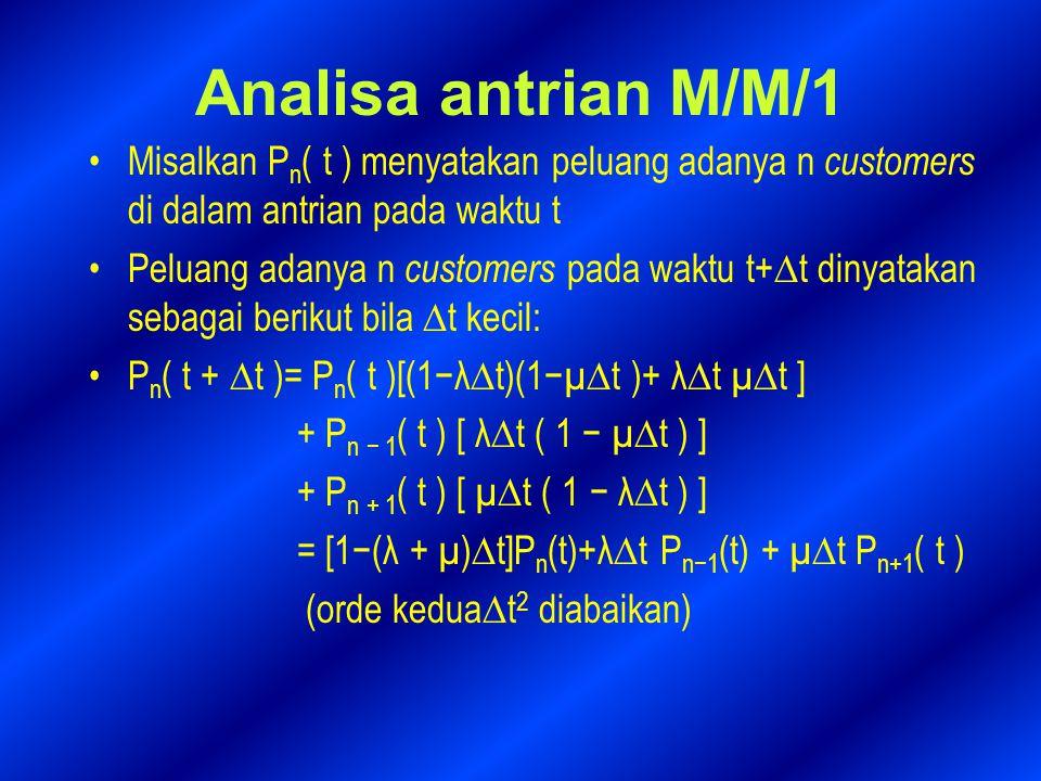 Analisa antrian M/M/1 Misalkan Pn( t ) menyatakan peluang adanya n customers di dalam antrian pada waktu t.