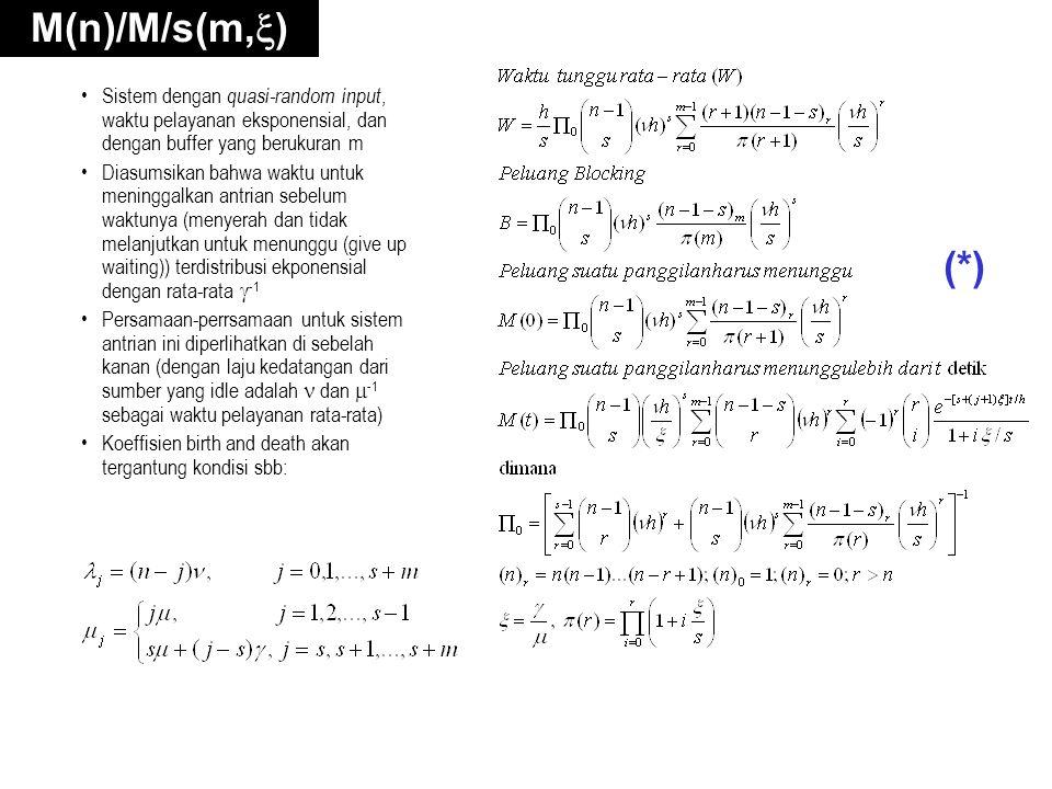 M(n)/M/s(m,) Sistem dengan quasi-random input, waktu pelayanan eksponensial, dan dengan buffer yang berukuran m.