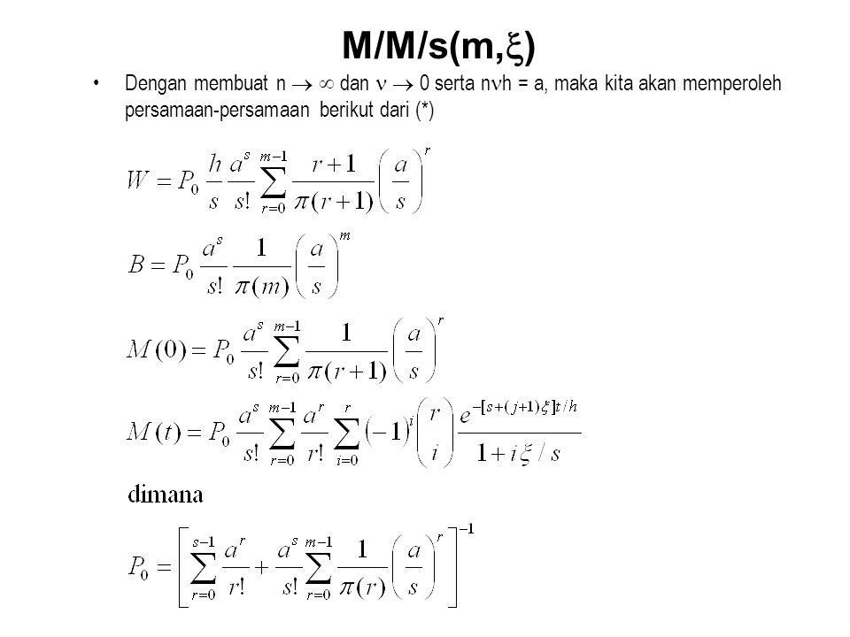 M/M/s(m,) Dengan membuat n   dan   0 serta nh = a, maka kita akan memperoleh persamaan-persamaan berikut dari (*)