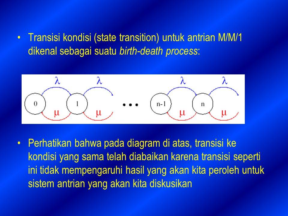 Transisi kondisi (state transition) untuk antrian M/M/1 dikenal sebagai suatu birth-death process:
