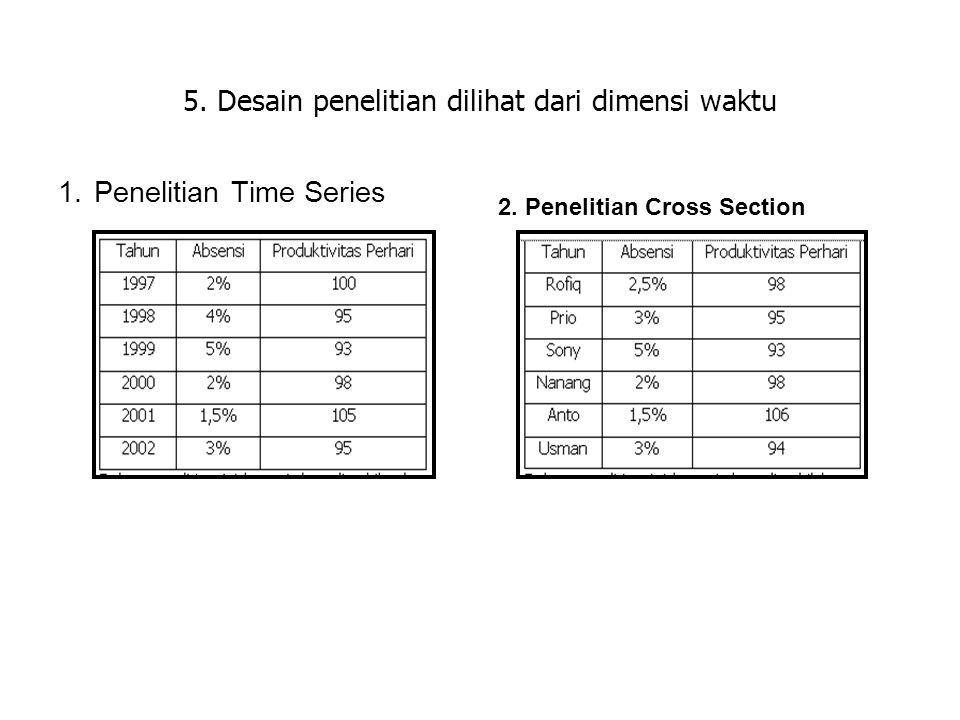 5. Desain penelitian dilihat dari dimensi waktu