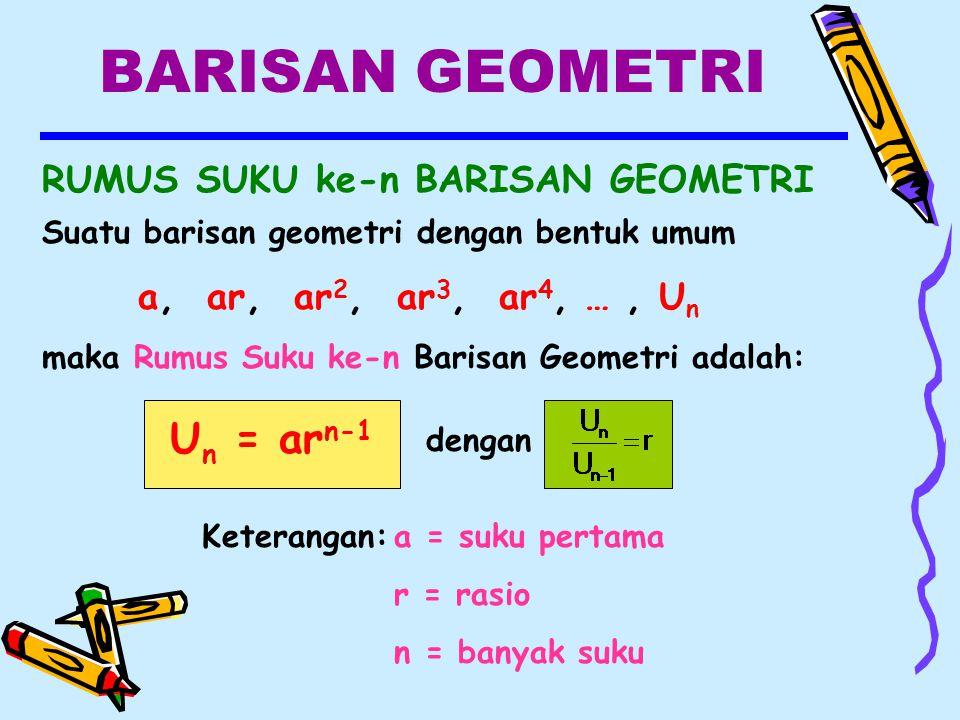 BARISAN GEOMETRI Un = arn-1 RUMUS SUKU ke-n BARISAN GEOMETRI