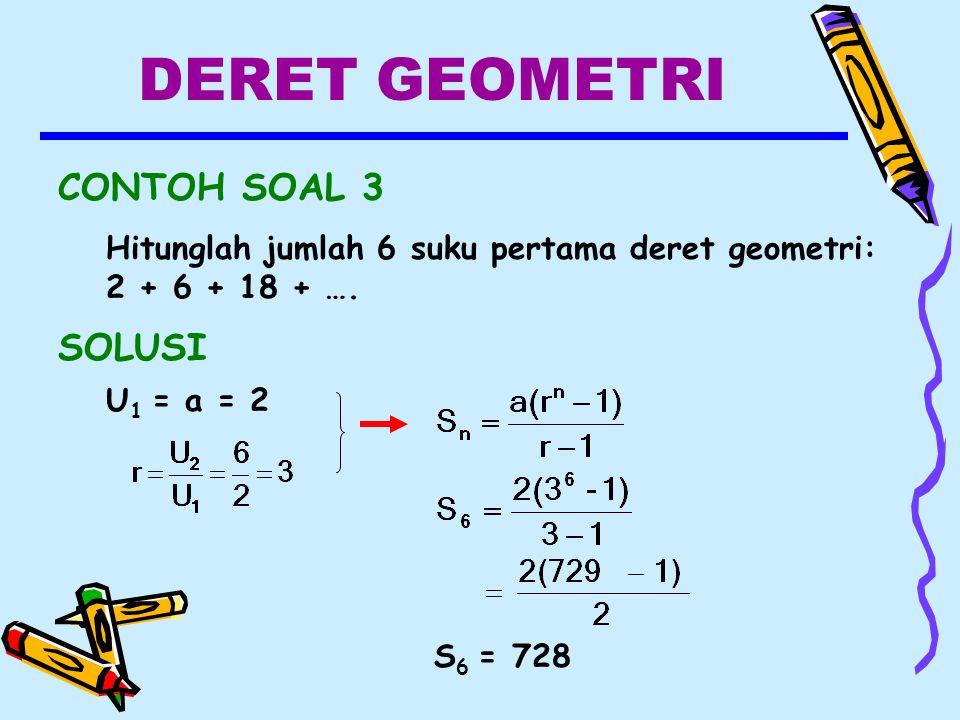 DERET GEOMETRI CONTOH SOAL 3 SOLUSI