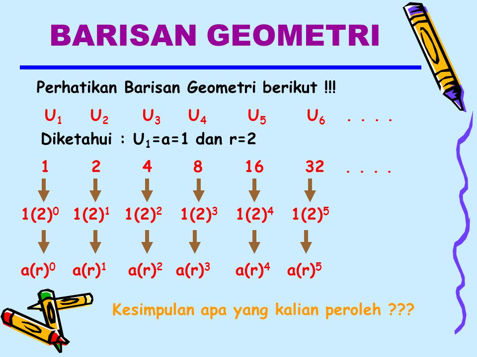 BARISAN GEOMETRI Perhatikan Barisan Geometri berikut !!!