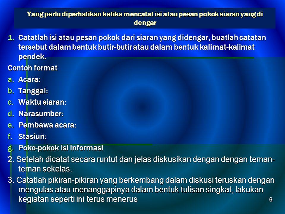Poko-pokok isi informasi