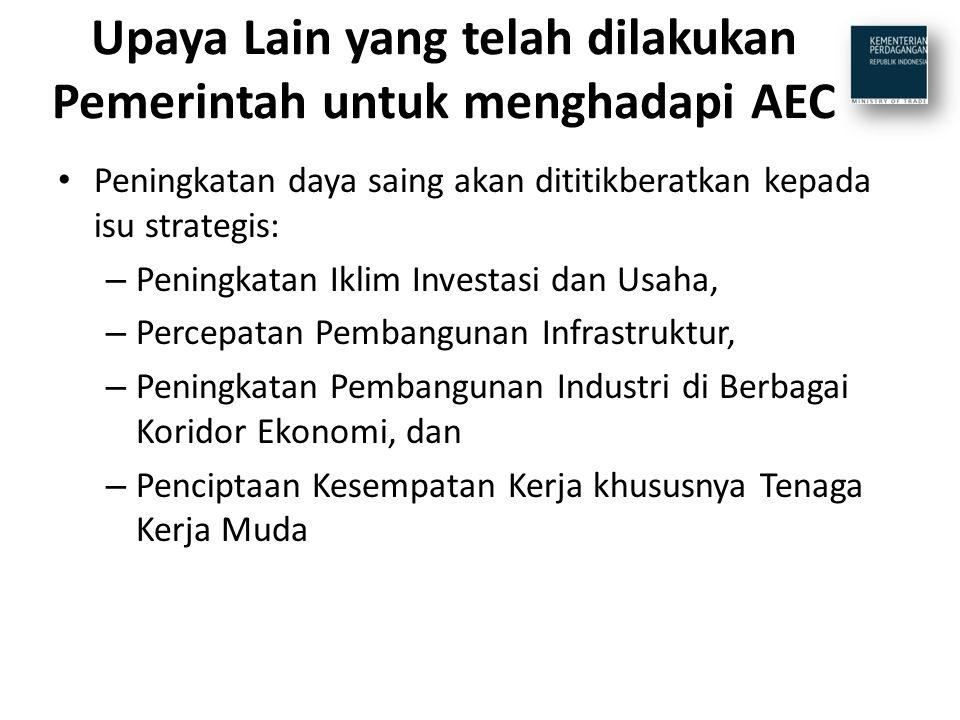 Upaya Lain yang telah dilakukan Pemerintah untuk menghadapi AEC