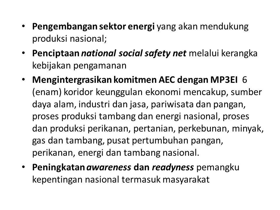Pengembangan sektor energi yang akan mendukung produksi nasional;