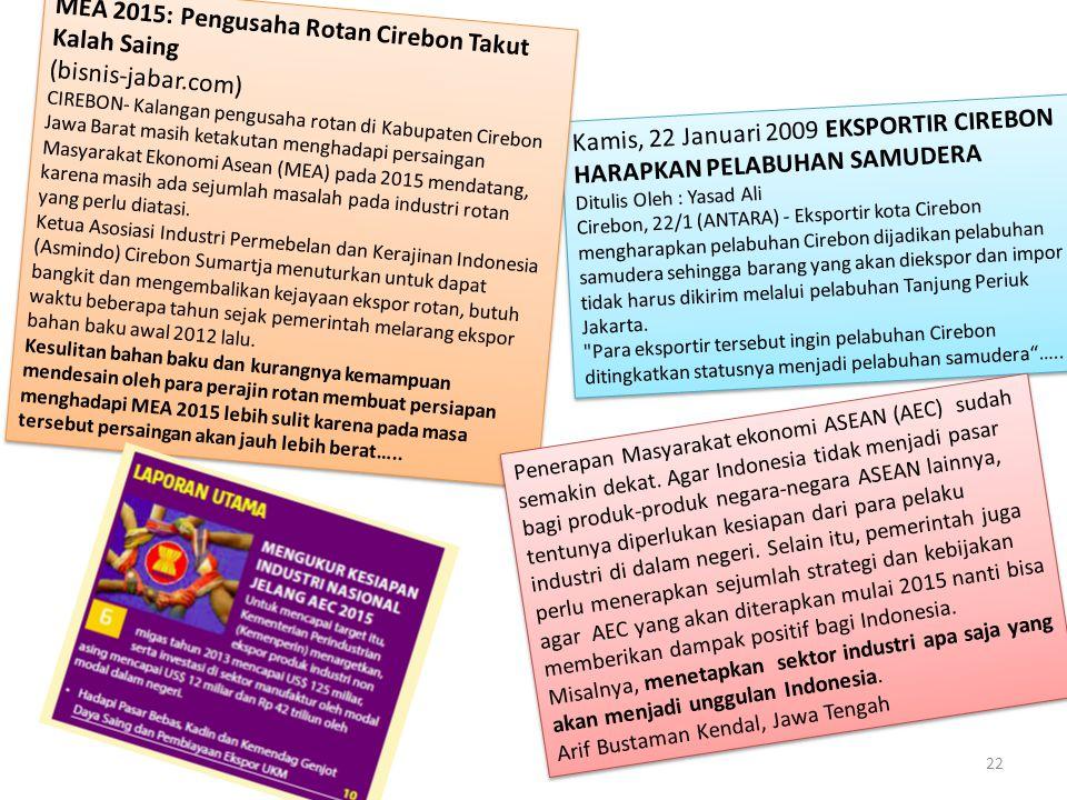 MEA 2015: Pengusaha Rotan Cirebon Takut Kalah Saing (bisnis-jabar.com)