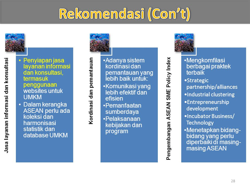 Rekomendasi (Con't) Jasa layanan informasi dan konsultasi. Penyiapan jasa layanan informasi dan konsultasi, termasuk penggunaan websites untuk UMKM.