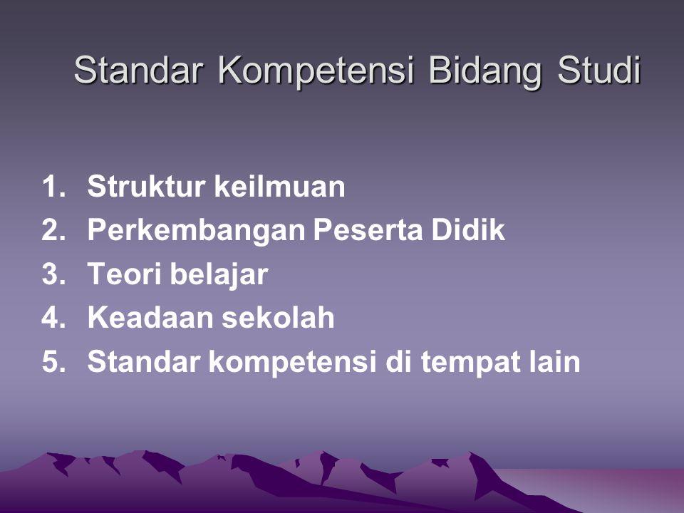 Standar Kompetensi Bidang Studi