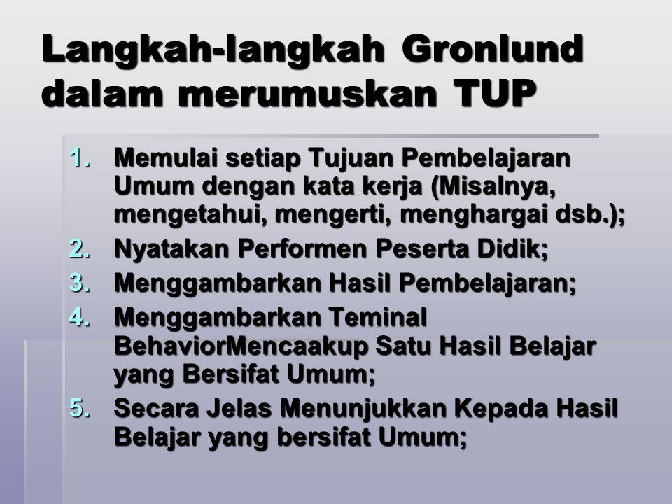 Langkah-langkah Gronlund dalam merumuskan TUP