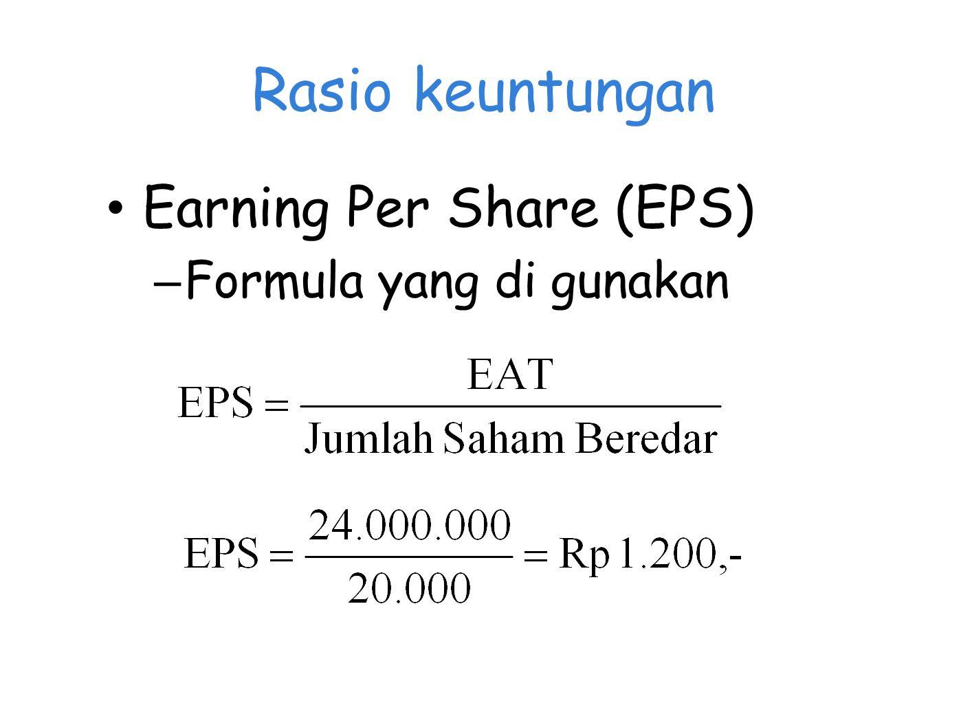 Rasio keuntungan Earning Per Share (EPS) Formula yang di gunakan