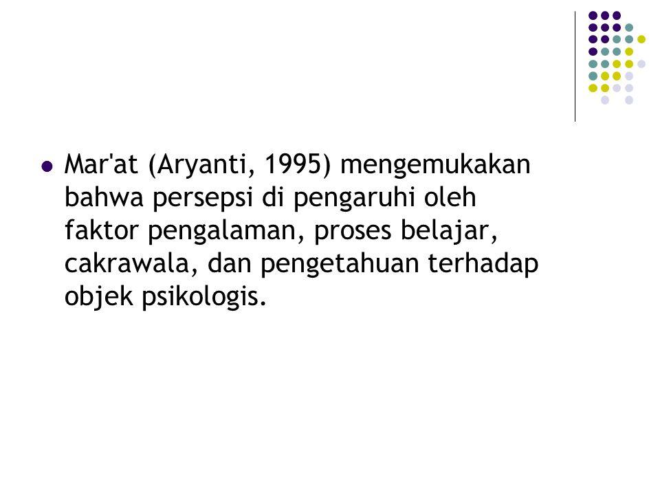 Mar at (Aryanti, 1995) mengemukakan bahwa persepsi di pengaruhi oleh faktor pengalaman, proses belajar, cakrawala, dan pengetahuan terhadap objek psikologis.