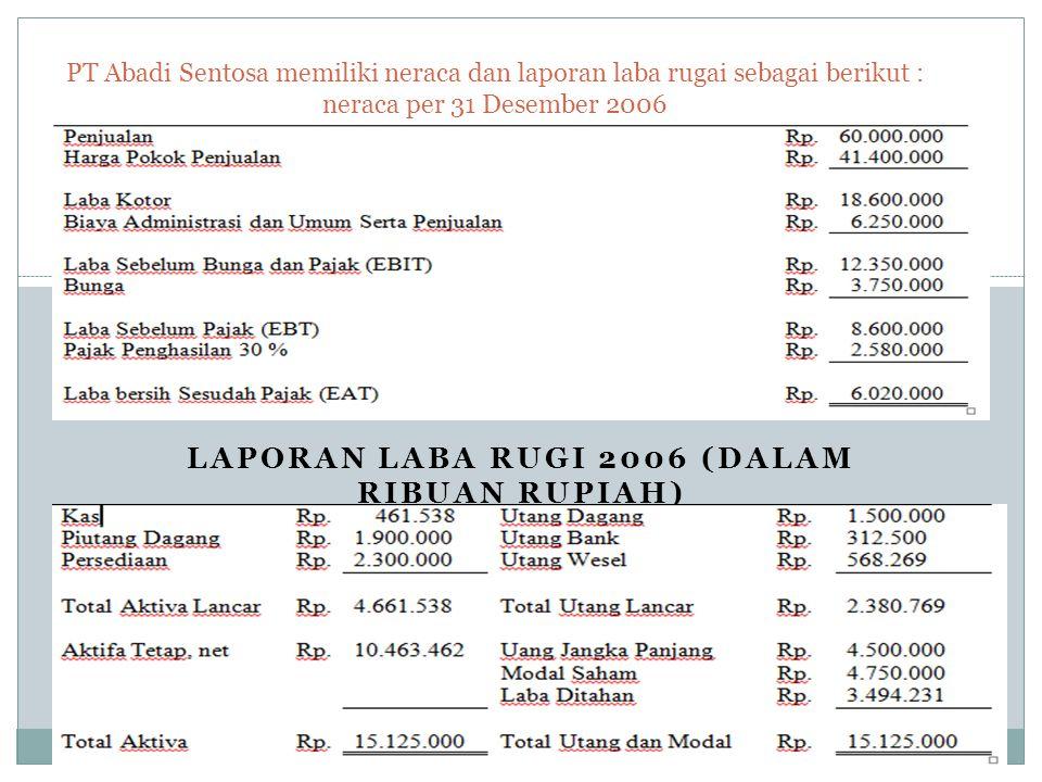 Laporan laba rugi 2006 (dalam ribuan rupiah)