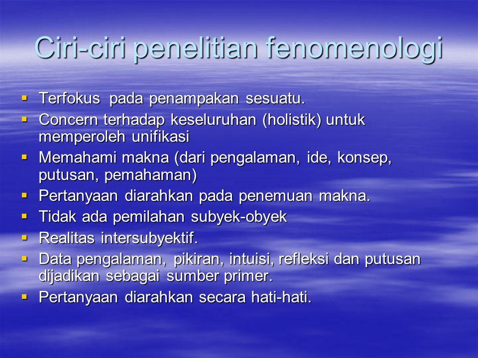 Ciri-ciri penelitian fenomenologi