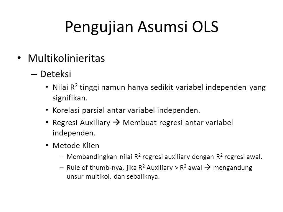 Pengujian Asumsi OLS Multikolinieritas Deteksi